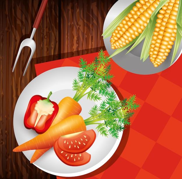 Блюда со свежими овощами, здоровый образ жизни или диета