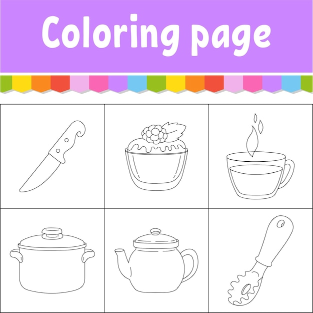 Dishware theme coloring book page for kids
