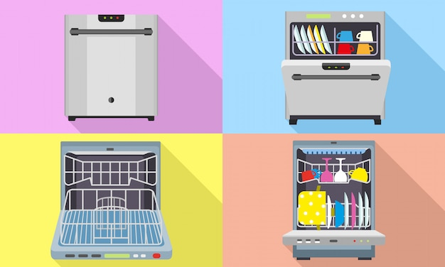 Dishwasher icons set. flat set of dishwasher vector