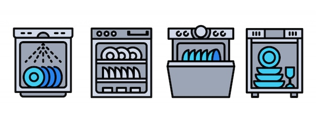 Dishwasher icons set