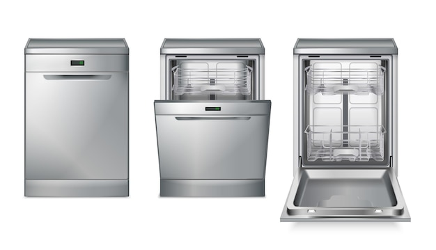 Dishwasher machine grey realistic set with three isolated images with different views of dish washing machine