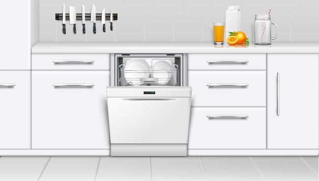 주방에서 식기 세척기 기계. 인테리어 현실적인 그림