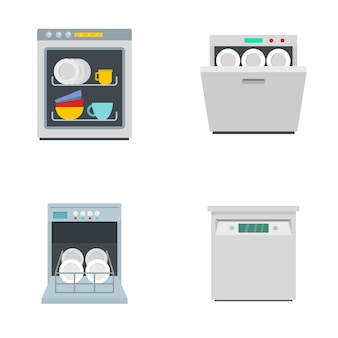 Dishwasher machine kitchen icons set flat style