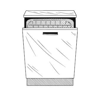 白い背景の上の食器洗い機。スケッチスタイルのイラスト。