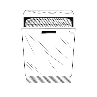 Dishwasher  on white background.  illustration of a sketch style.