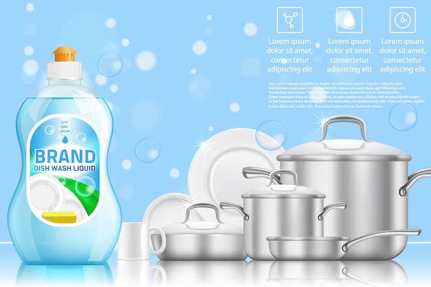 Dishwashing advertising realistic template
