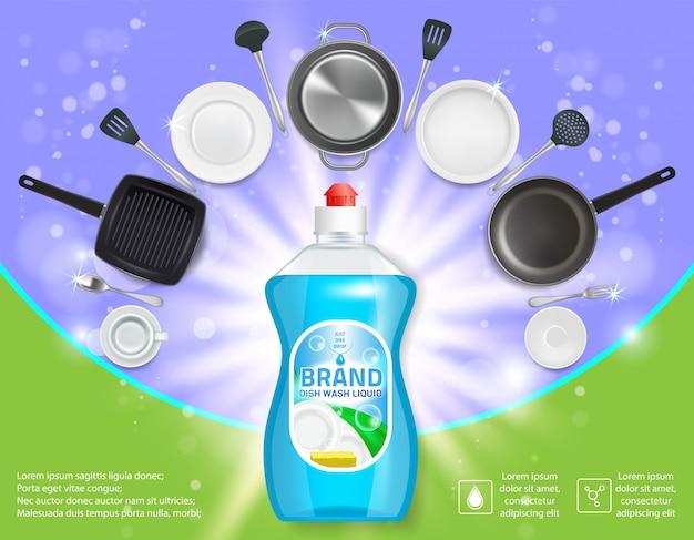 Посудомоечная реклама реалистичный шаблон