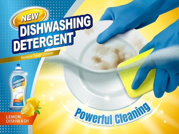 Dishwashing detergent ads, blue gloves holding sponge scrubbing the dirty plates with dish cleaning liquid underwater, 3d illustration