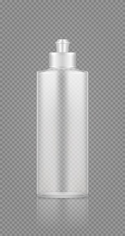 Dishwashing detergent rinser empty transparent plastic bottle mockup with cap