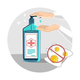 Disinfect hands with sanitizer gel concept in a flat design