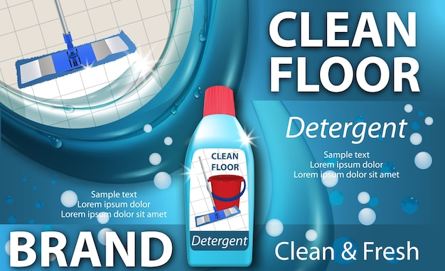 床を洗うための消毒クリーナー。光沢のあるきれいな床。モップクリーニング。