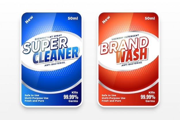 Modello di etichette detergente disinfettante o detersivo per bucato