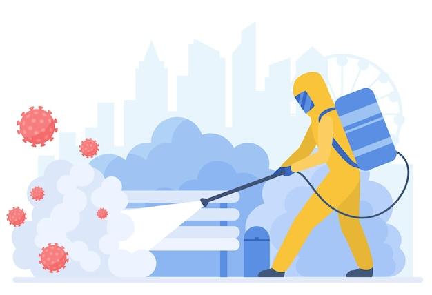 コロナウイルスの概念から都市を掃除する特別な防護服の消毒人
