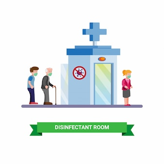 Disinfectant room to clean people from virus and bacteria, disease outbreak prevention cartoon flat illustration