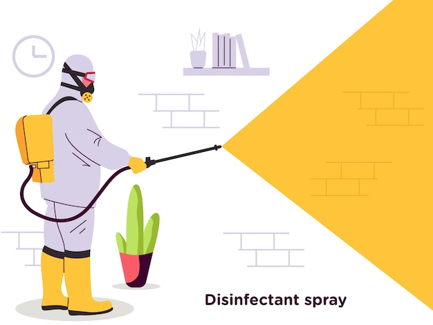Disinfectant spray officer illustration
