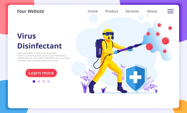 Disinfectant worker in hazmat suits sprays cleaning and disinfecting covid-19 coronavirus cells. disinfect protection from virus concept. website landing page design template
