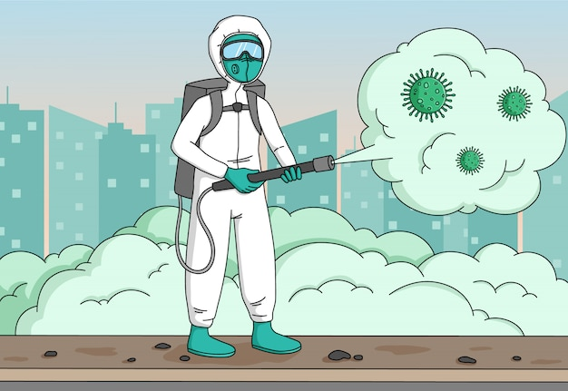 Disinfectant worker sprays coronavirus or covid-19 and wear protective mask and suit on city background