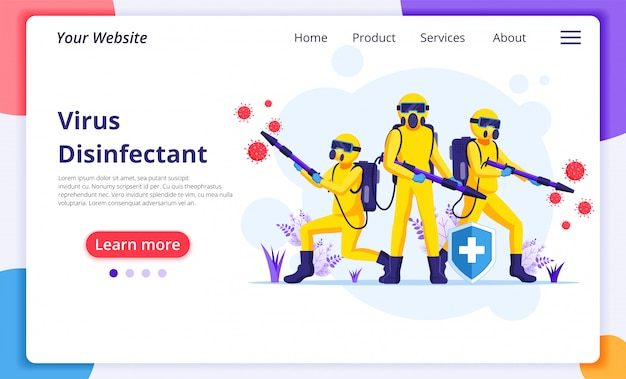 Disinfectant worker team in hazmat suits sprays cleaning and disinfecting covid-19 coronavirus cells. disinfect protection from virus concept. website landing page design template