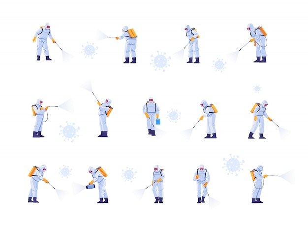 Disinfecting work teams wear protective masks and spacesuits against pandemic coronavirus or covid-19 sprays. cartoon style illustration isolated on white background.