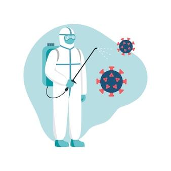 消毒洗浄滅菌スーツを着た男性が、コロナウイルスやバクテリアから部屋を消毒します