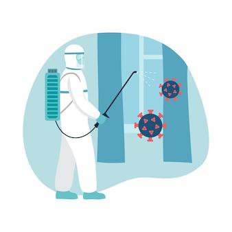 消毒洗浄ベクター滅菌スーツを着た男性がコロナウイルスから部屋を消毒します