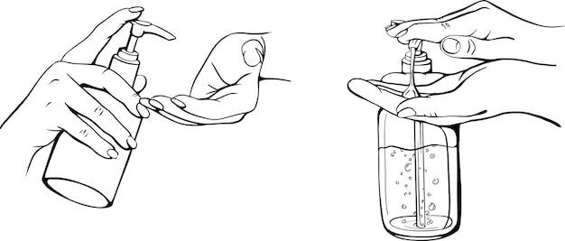 Disinfection of hands handdrawn illustration
