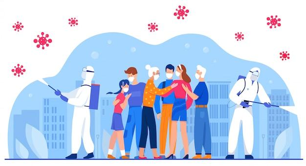 Disinfection, medical masks against coronavirus, covid 19 character flat vector illustration concept