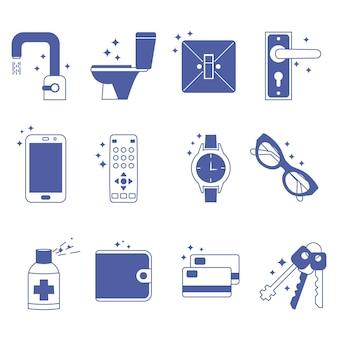 敷地内の消毒コンセプトアイコン家庭での滅菌面の衛生家庭用品の衛生