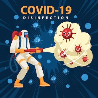 Сотрудник по дезинфекции очистить монстра коронавируса