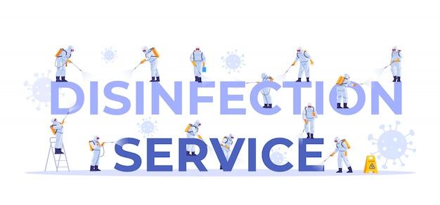 消毒サービス。清掃会社スタッフのさまざまなポーズ、webページ、バナー、プレゼンテーション、ソーシャルメディア、ドキュメント、カード、ポスターのコンセプトセット。コロナウイルスパンデミック。図。