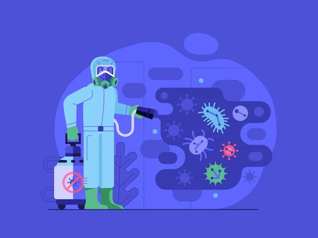Иллюстрация процесса дезинфекции с работником дезинфицирующего средства в костюме биологической опасности, распыляющим дезинфицирующий спрей на вирус.