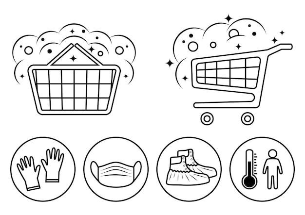 Disinfection of shopping trolley handles. sanitizing basket of food. hand sanitizing and temperature check station. shoe covers. mask, gloves and temperature scanning are required. vector icons