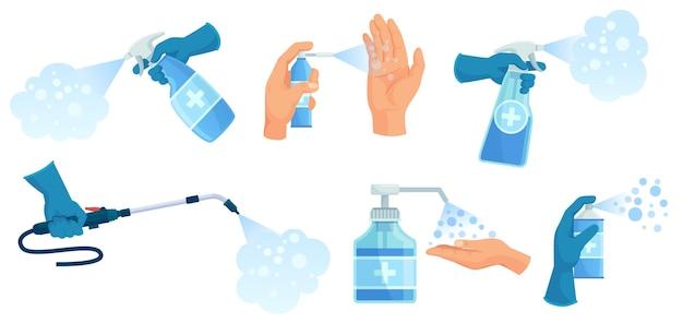 손에 소독 스프레이. 손 소독제, 분무 된 소독제 및 소독제 용기. 의료 바이러스 보호 스프레이 그림을 설정합니다.