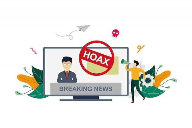 Disinformation spread via tv broadcast news media concept illustration