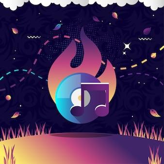 Disk burn vector illustration