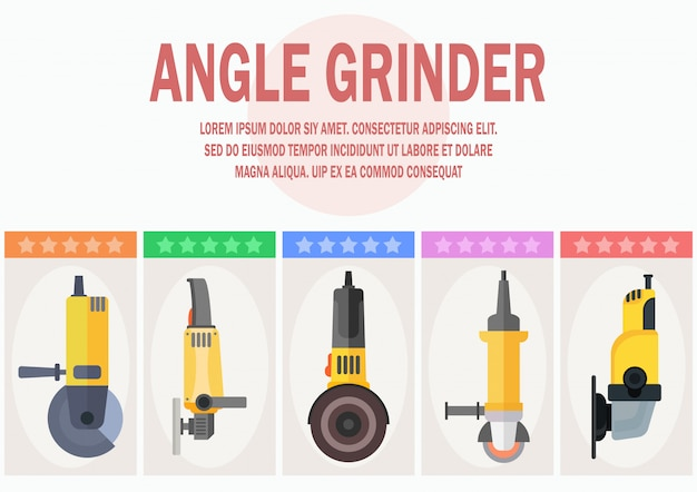 Disk grinders shop flat vector web banner template