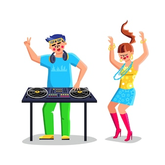 Disk jockey playing music on dj equipment vector. dj at turntable play cd players at nightclub during party and dancing young girl. characters in night club flat cartoon illustration
