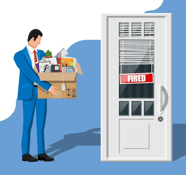 Dismiss employee, door with fired word plate and cardboard box with office items. hiring and recruiting. human resources management concept searching professional staff work. flat vector illustration