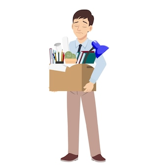 Dismiss sad young man carrying box with the personal belonging leaving his job.