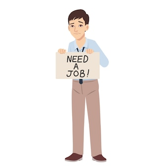 Dismiss sad young man looking for a job and holding a cardboard