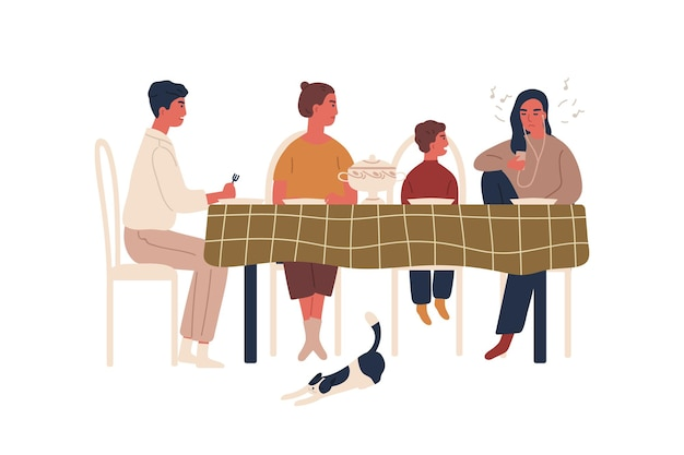 Disobedience teen girl listen music in earphones during family dinner vector flat illustration. annoyed cartoon parents and little brother berate teenage female isolated on white. conflict behavior.