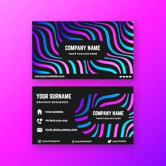 Disorted lines theme for business card concept