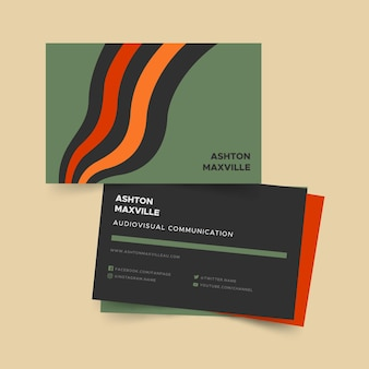 Disorted lines theme for business card