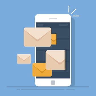 Dispatch of emails from a mobile phone. mail client on the smartphone