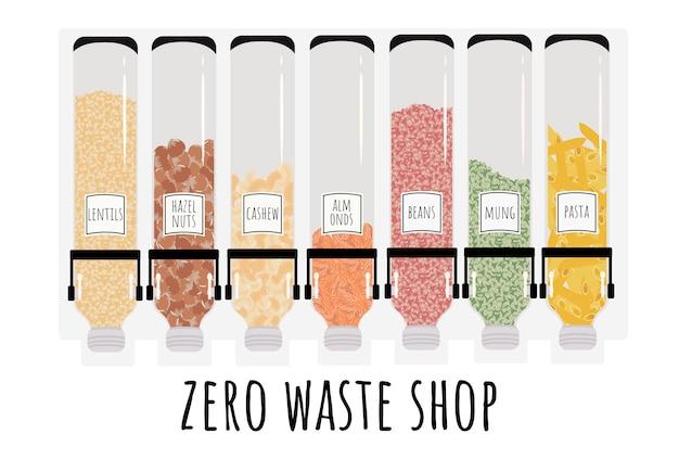 벌크 제품 용 디스펜서. 중량 별 제품 판매. 폐기물 가게 없음. 플라스틱을 거절하십시오! 그림 흰색에 격리입니다.