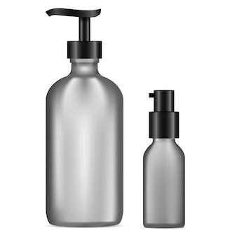 ディスペンサーポンプボトル。黒いガラスのゲルまたは石鹸の容器。