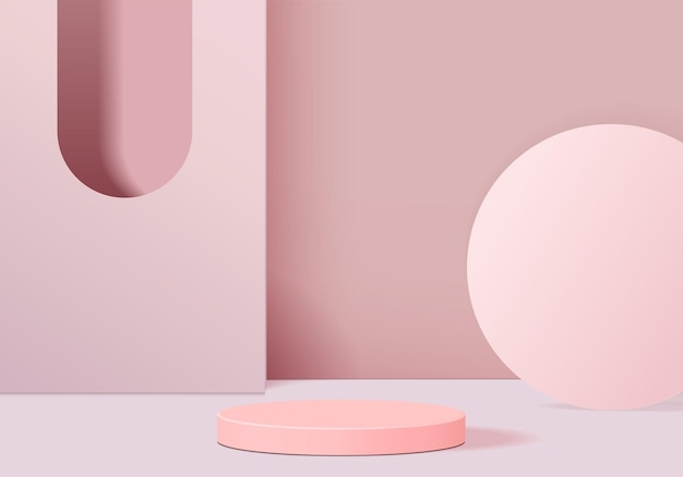 Display product abstract minimal scene with geometric podium platform. cylinder background   rendering with podium. stand for cosmetic products. stage showcase on pedestal pink studio