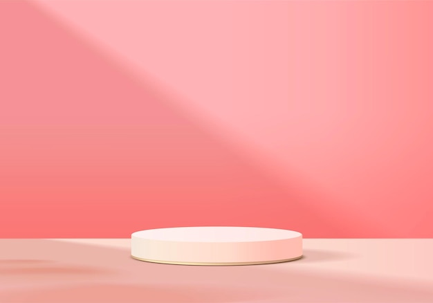 Display product abstract minimal scene with geometric podium platform. cylinder background   rendering with podium. stand for cosmetic products. stage showcase on pedestal pink studio Premium Vector