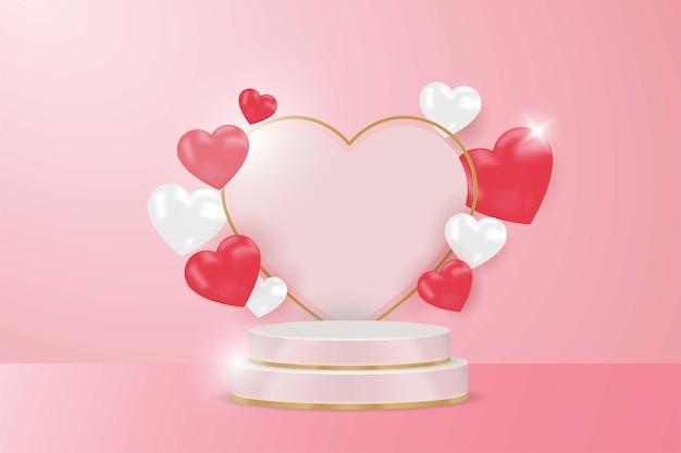 디스플레이 제품 해피 발렌타인 데이 배너, 현실적인 스타일.