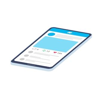 スマートフォンにソーシャル メディアの投稿を表示します。斜め。
